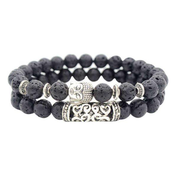Black Lava Bead & Buddha Charm Bracelet