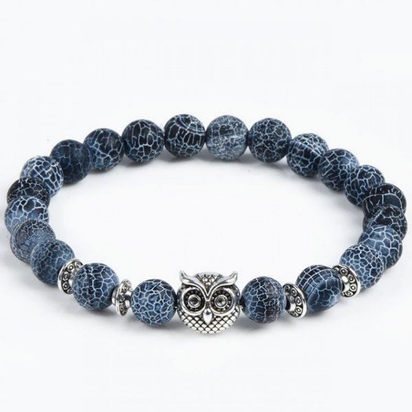 Blue Lava Bead & Owl Charm Bracelet