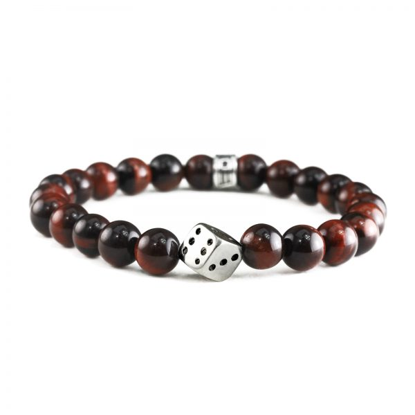 Brown Glass Bead & Dice Charm Bracelet