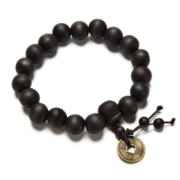 Brown Lava Bead & Chniese Coin Bracelet