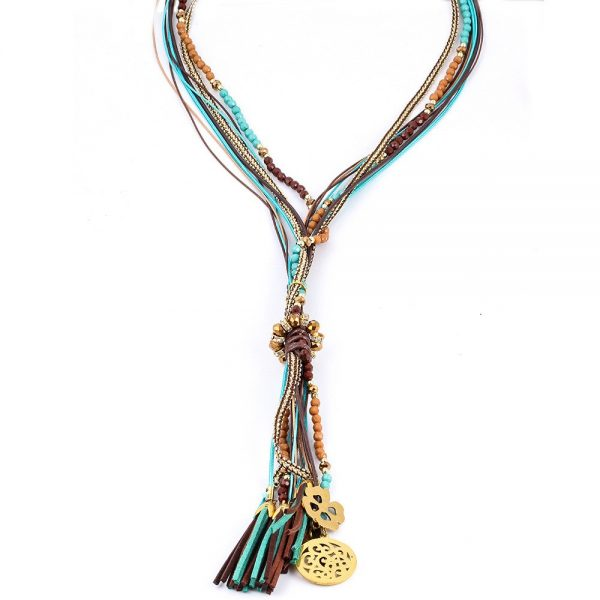 Colorful Threaded & Beaded Necklace