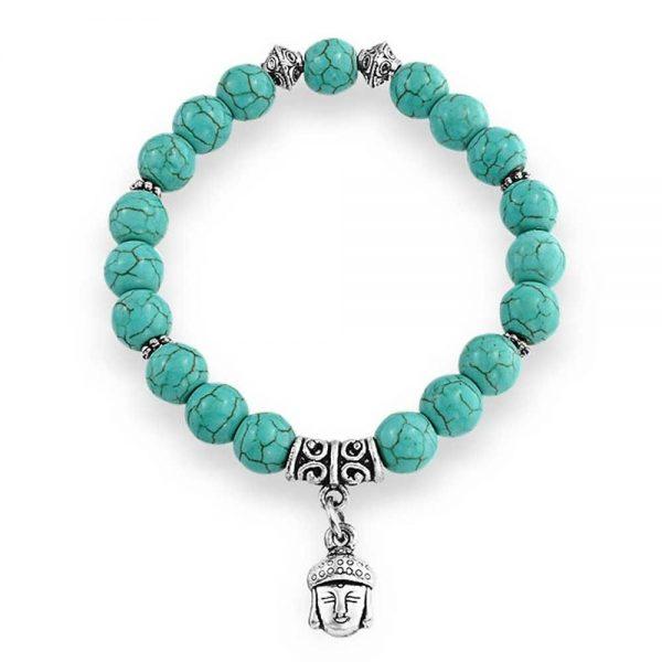Turquoise Bead & Buddha Charm Bracelet