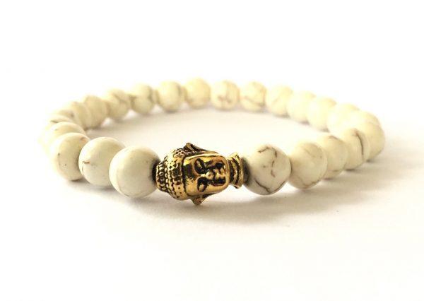 White Bead & Buddha Charm Bracelet