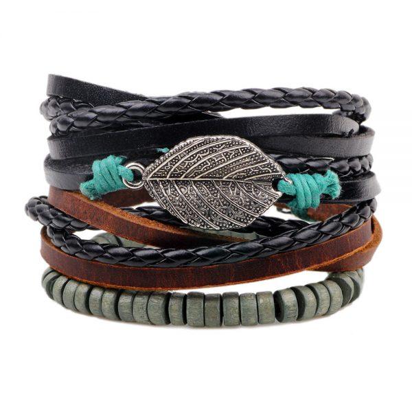 Wrap Aspen Leaf Pendant Bracelet